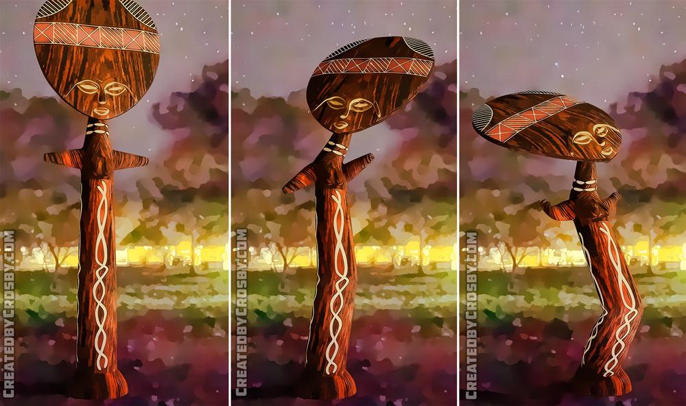 African 3D art-triptych