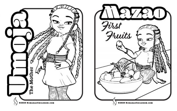 sample pages from the Kinara's Children Kwanzaa Handbook and Guide