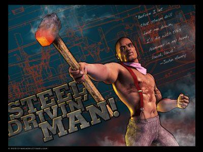 Steel-Drivin'-Man Illustration